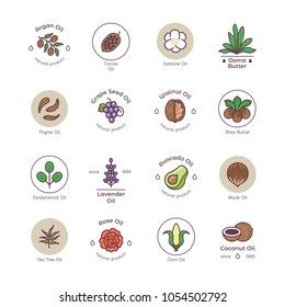 Skincare and beauty organic cosmetics oil vector line emblems and logos. Illustration of natural oil tea tree, coconut and avocado oil