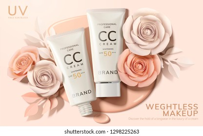 Skincare CC cream ads with paper flowers on complexion liquid background in 3d illustration