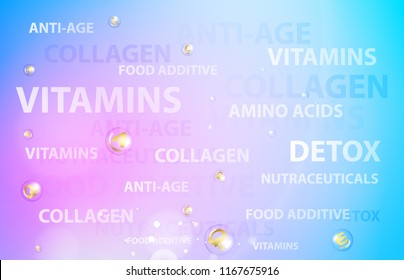 Skincare concept for cosmetic label of cream. Golden bubbles with vitamin letters over blue background. Vector illustration.