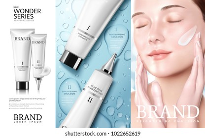 Skincare cosmetic ads, Moisture series tube with beautiful woman model, water drop background in 3d illustration