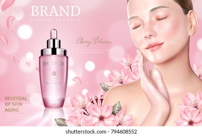 Skincare cosmetic ads, sakura essence with beautiful woman model, pink bokeh background in 3d illustration