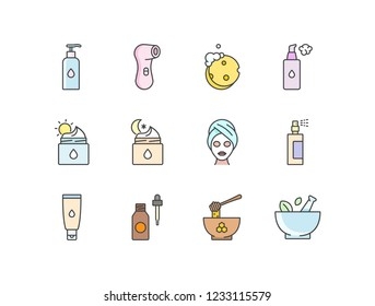 Skincare cosmetics colored line icons set with facial cleanser, electric brush, sponge, foam, night, day cream, mask, spray, serum, honey, mortar and pestle.