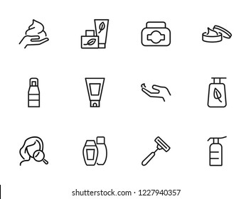 Skincare icon. Set of line icons on white background. Hand cream, body lotion, shaving razor. Beauty products concept. Vector illustration can be used for topics like beauty, cosmetics, bodycare