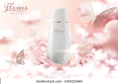 Skincare lotion bottle ads with paper flowers and cloud effect in 3d illustration