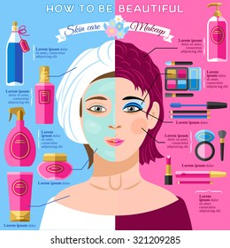 Skincare and makeup tips for healthy face skin and beauty infographic poster with pictograms abstract vector  illustration