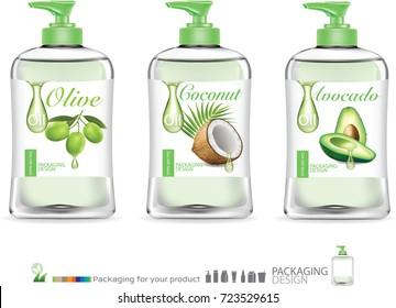 skincare package for olive oil,coconut oil, avocado oil. illustration