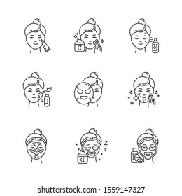 Skincare procedures linear icons set. Beauty routine. Undereye cream. Sheet mask. Spot treatment. Hydrogel, vitamin C. Thin line contour symbols. Isolated vector outline illustrations. Editable stroke