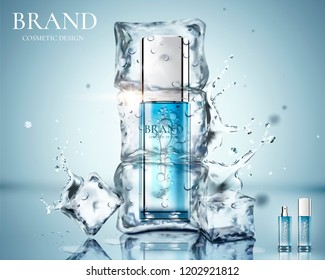 Skincare product ads with product be frozen in the ice in 3d illustration