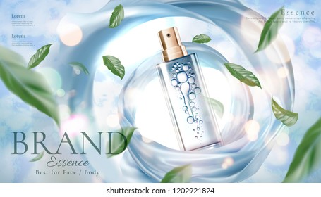 Skincare product ads with spray bottle and flying green leaves on bokeh glittering background, 3d illustration