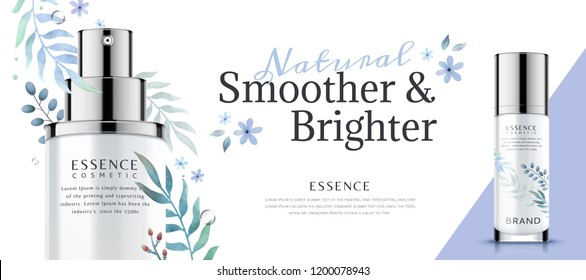 Skincare product banner ads with plant watercolor decorations in 3d illustration
