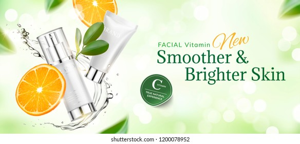 Skincare product banner ads with sliced orange and swirling liquid on green glittering bokhe background in 3d illustration