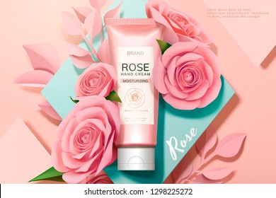 Skincare rose hand cream ads with pink paper flowers on geometric background in 3d illustration