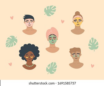 Skincare routine set. People apply skin care products: facial masks, eye patches. Women and men use organic natural homemade cosmetics. Beauty rituals, self care. Flat vector illustration