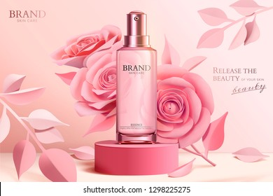 Skincare spray bottle ads with pink paper flowers on column in 3d illustration