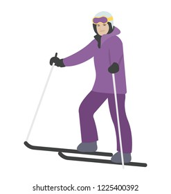 Sking woman icon, winter sports