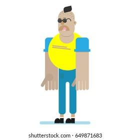 Skinhead bully character isolated. Football hooligan.Flat vector illustration