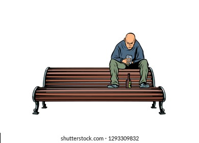skinhead bully sitting on a bench with a bottle. Pop art retro vector illustration kitsch vintage