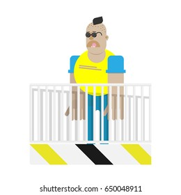 Skinhead character over the fence isolated. Football hooligan.Flat vector illustration