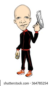 Skinhead man. illustration of a cartoon gangster with a gun, a phone in a black tracksuit and sneakers. Vector gangster