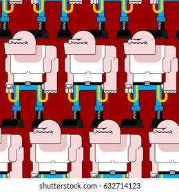 Skinhead seamless pattern. Football bully background. Angry Bad Hooligan Texture