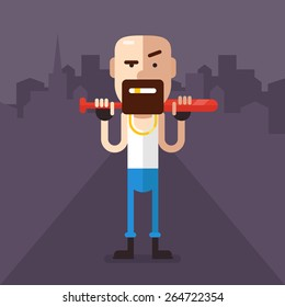 Skinheads robber with a bat in his hands in the middle of the night streets. In a white shirt, jeans, gold tooth. Fully editable vector illustration in flat style.