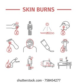 Skinl Burns line icons. Treatment. Vector illustrations.