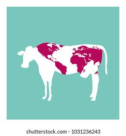 SKINNY COWS. THE WORLD IS HUNGRY. POVERTY. FAMINE. Serie of metaphorical concepts.