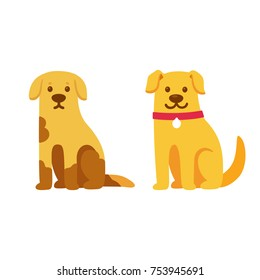 Skinny and dirty stray dog, happy and healthy rescue pet. Before and after adoption, cute cartoon drawing. Adopt a pet concept. Vector illustration.