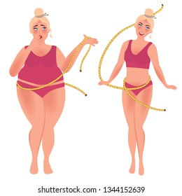 Skinny and fat girl before and after weight loss. People with obesity problems. Vector graphics