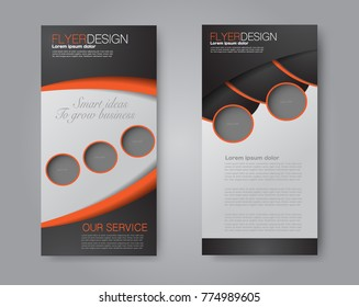 Skinny flyer or leaflet design. Set of two side brochure template or banner.  Vector illustration. Orange and black color.