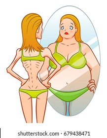 Skinny girl looks in the mirror and sees herself as fat. Anorexia illustration.