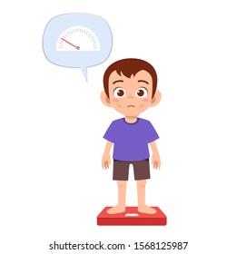 skinny sad kid boy use weight scale vector