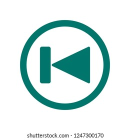 Skip button icon. Dark green Skip player button for backward or previous track chapter or file media vector