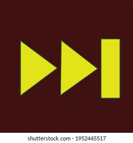 Skip to the end or next file track chapter button in yellow color with dark background