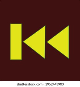 Skip to the start or previous file track chapter button in yellow color with dark background
