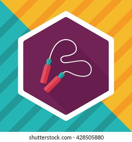Skipping rope flat icon with long shadow