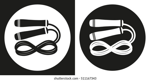Skipping rope icon. Silhouette skipping rope on a black and white background. Sports Equipment. Vector Illustration