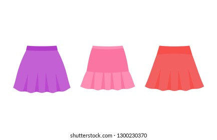 Skirt for baby. Vector. Girl clothes. Child skirts. Children clothing set. Kid models. Summer garment isolated on white in flat design. Cartoon illustration. Apparel icons. Female fashion dress.