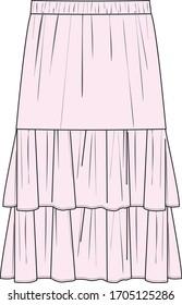 SKIRT, Fashion Flat Sketch, apparel template. RUFFLED SKIRT DESIGN