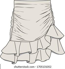 SKIRT, Fashion Flat Sketch, apparel template.GATHERED MINI SKIRT
