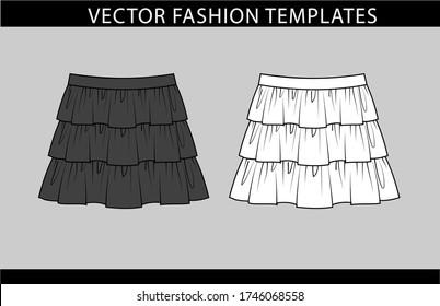 SKIRT fashion flat sketch template