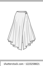 SKIRT Fashion technical drawings flat Sketches vector template