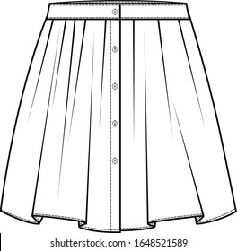Skirt flat sketch template, Skirt fashion technical drawings, vector template