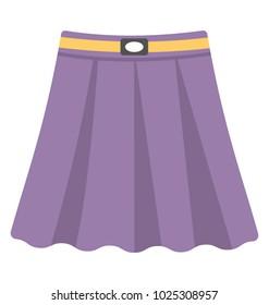 Skirt. Purple color skirt for girls, flat vector icon