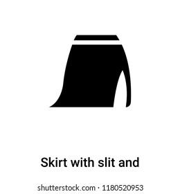 Skirt with slit and belt icon  vector isolated on white background, logo concept of Skirt with slit and belt  sign on transparent background, filled black symbol