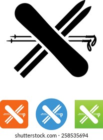 Skis; poles and snowboard symbol