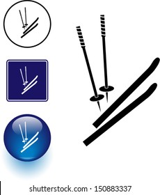 skis and poles symbol sign and button