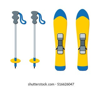 Skis and poles vector isolated. Winter sport equipment.