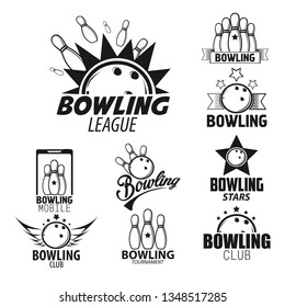 Skittles and ball bowling league isolated monochrome icons vector sport tournament or competition strike or score hobby and leisure sporting equipment championship emblem or logo game or entertainment