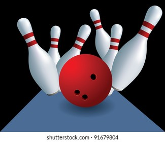 Skittles and ball. Bowling. Skittles on a black background